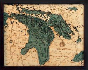 "Lake Huron 3-D Nautical Wood Chart, Small, 16"" x 20"" LH-D2S"
